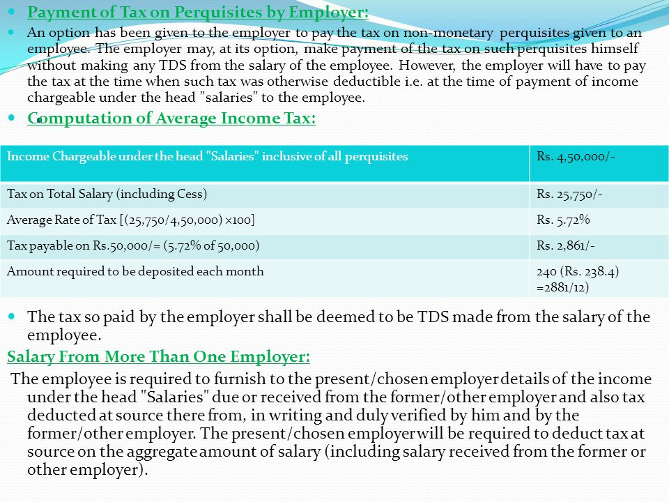 . Payment of Tax on Perquisites by Employer: