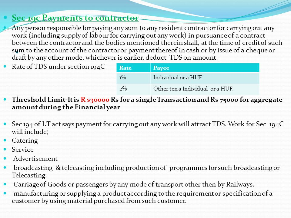 . Sec 19c Payments to contractor
