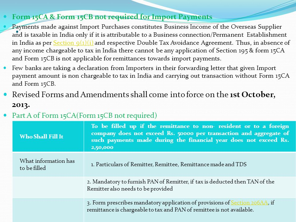 Form 15CA & Form 15CB not required for Import Payments