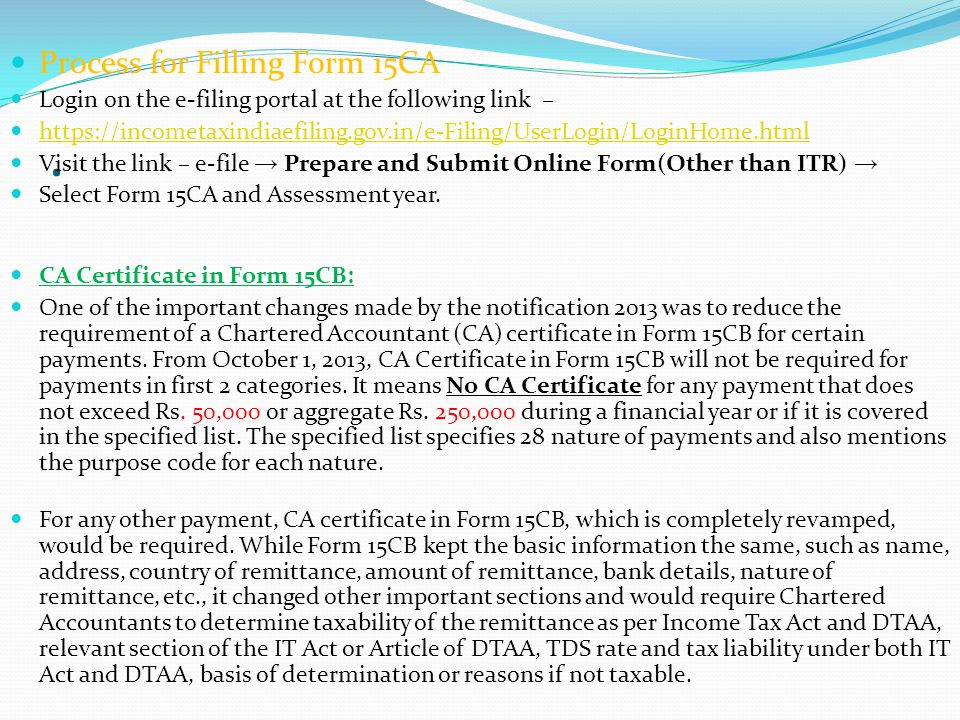 . Process for Filling Form 15CA