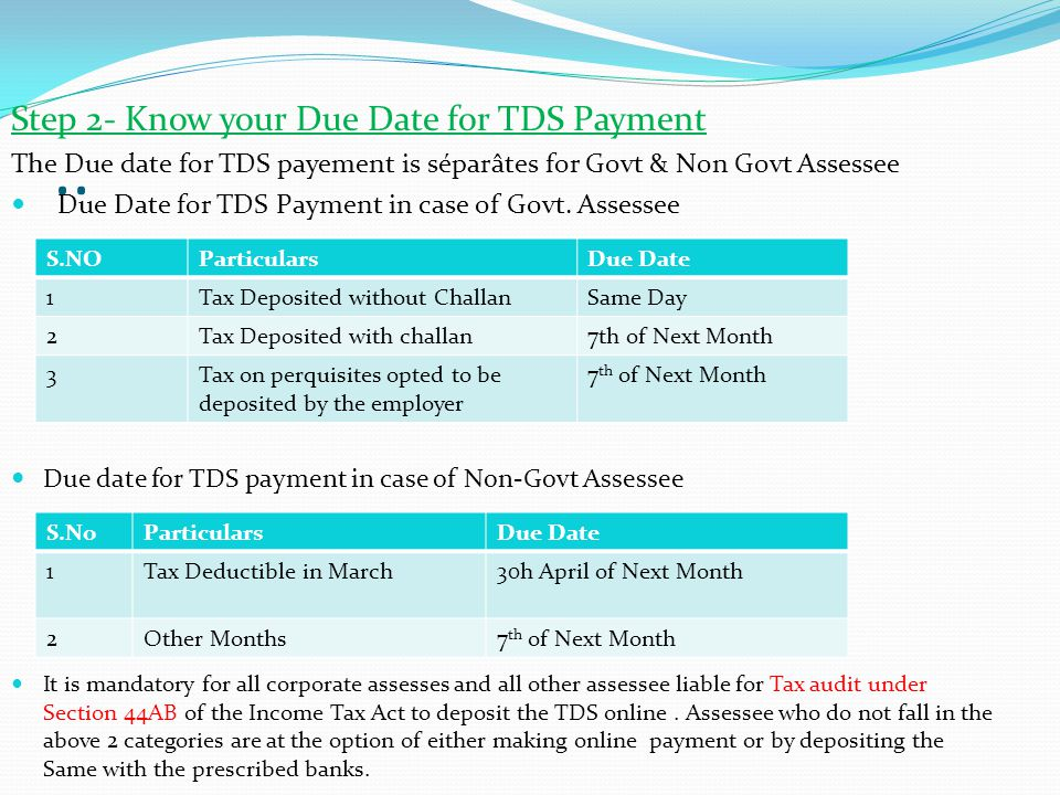 .. Step 2- Know your Due Date for TDS Payment