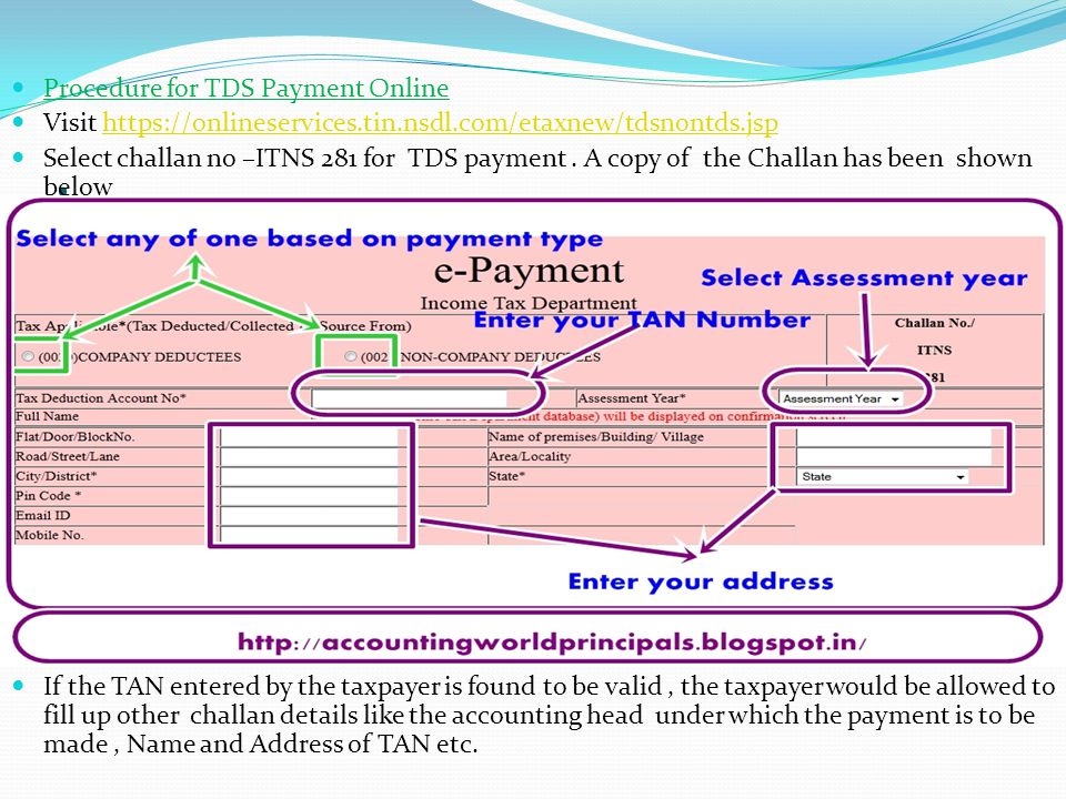 . Procedure for TDS Payment Online
