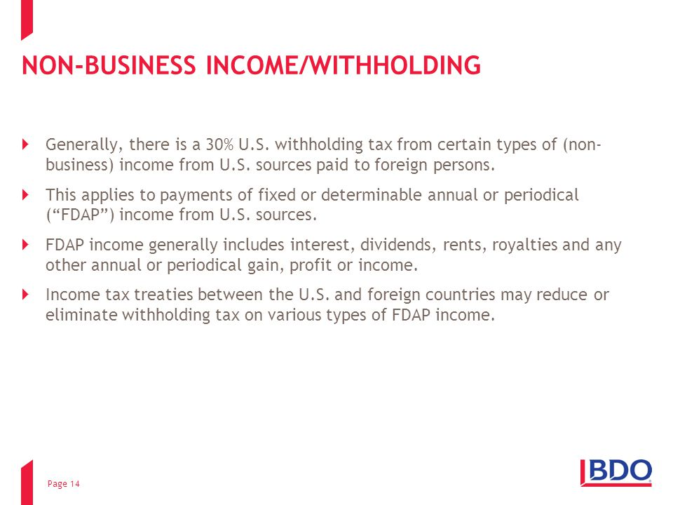 NON-BUSINESS INCOME/WITHHOLDING