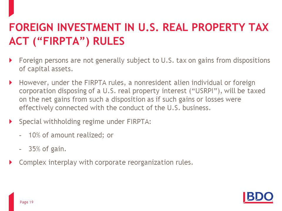 FOREIGN INVESTMENT IN U.S. REAL PROPERTY TAX ACT ( FIRPTA ) RULES