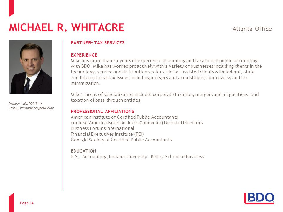 MICHAEL R. WHITACRE Atlanta Office PARTNER- TAX SERVICES EXPERIENCE