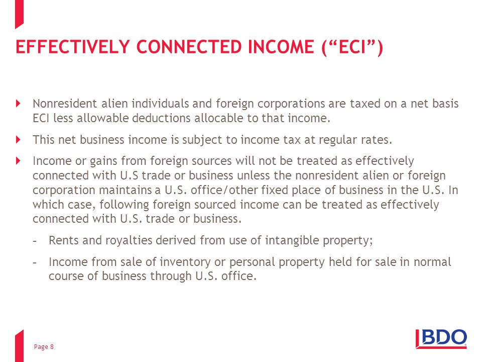 EFFECTIVELY CONNECTED INCOME ( ECI )