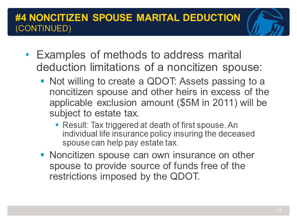 #4 Noncitizen Spouse Marital Deduction (Continued)