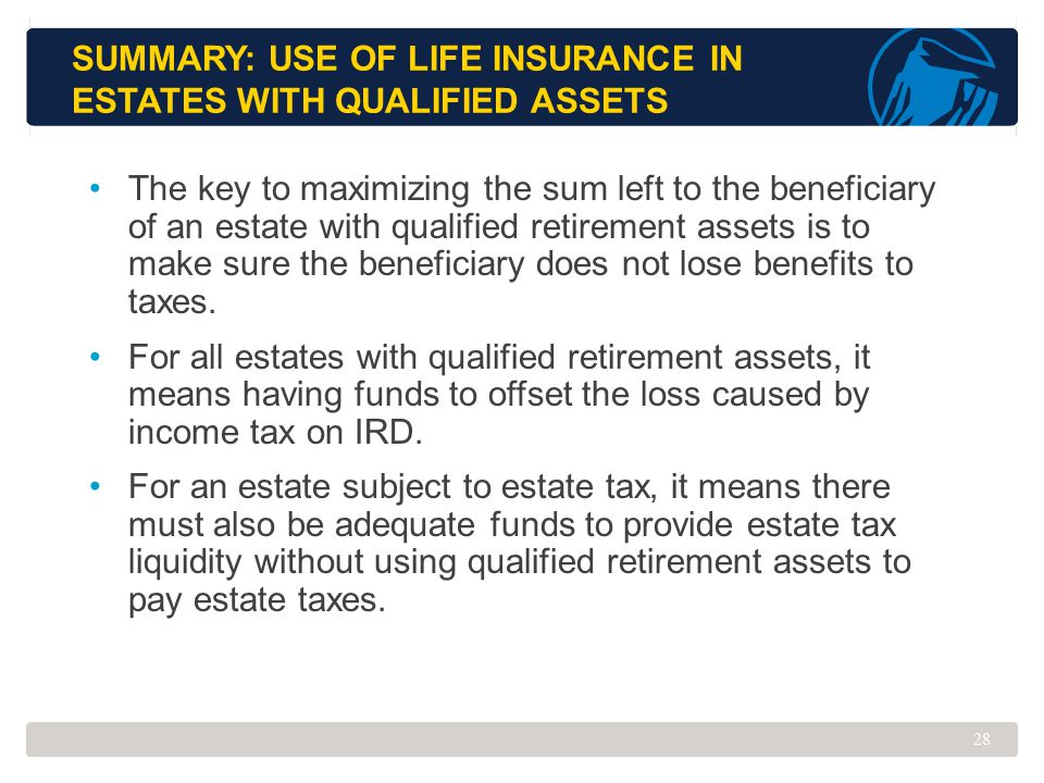 Summary: Use of Life Insurance in Estates with Qualified Assets
