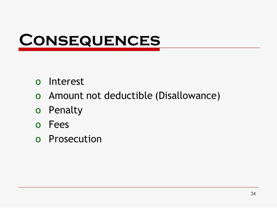 Consequences Interest Amount not deductible (Disallowance) Penalty
