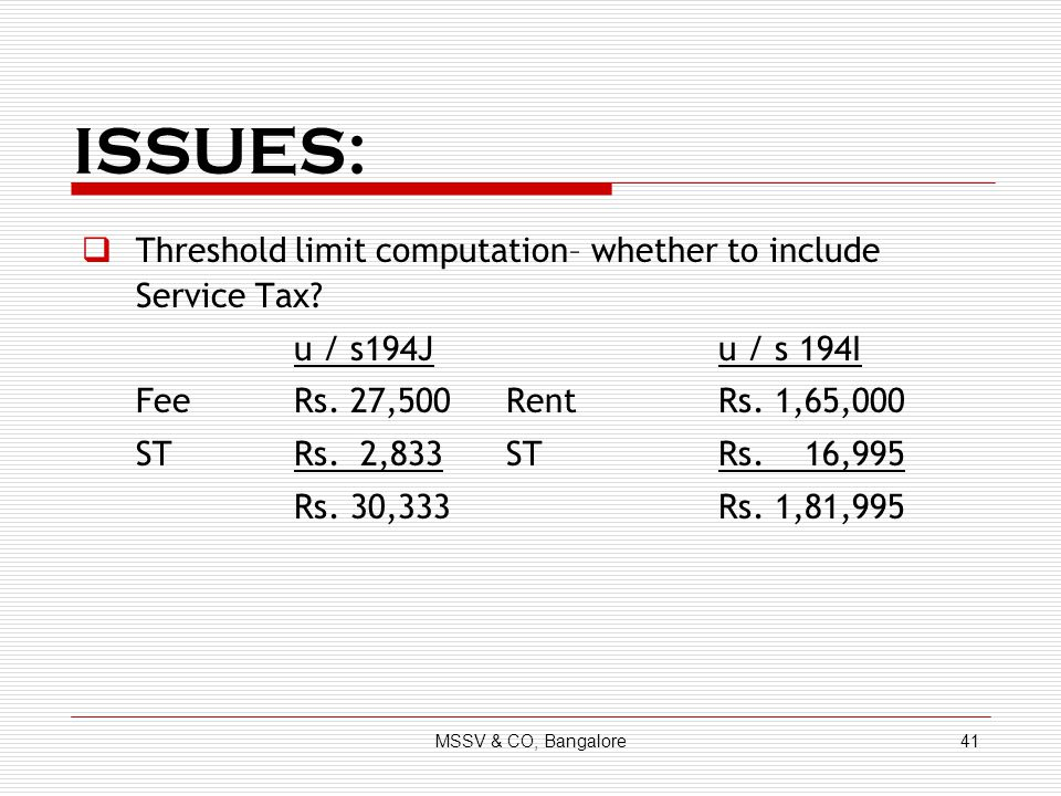 ISSUES: Threshold limit computation– whether to include Service Tax