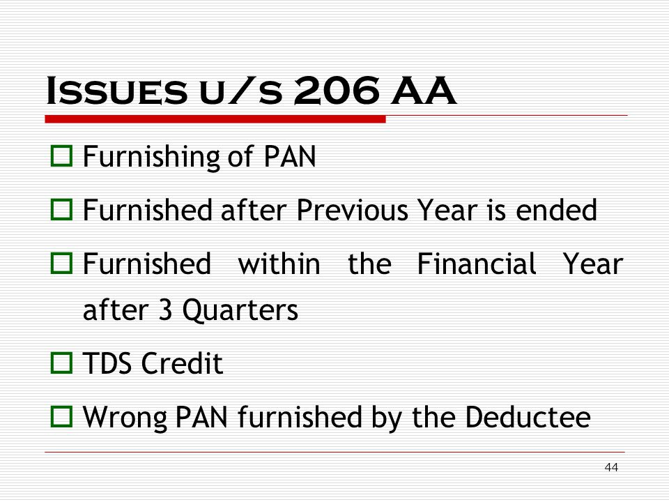 Issues u/s 206 AA Furnishing of PAN