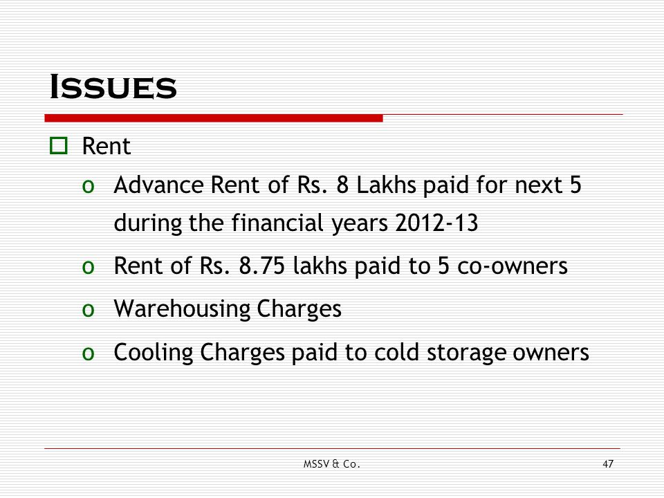 Issues Rent. Advance Rent of Rs. 8 Lakhs paid for next 5 during the financial years 2012-13. Rent of Rs. 8.75 lakhs paid to 5 co-owners.