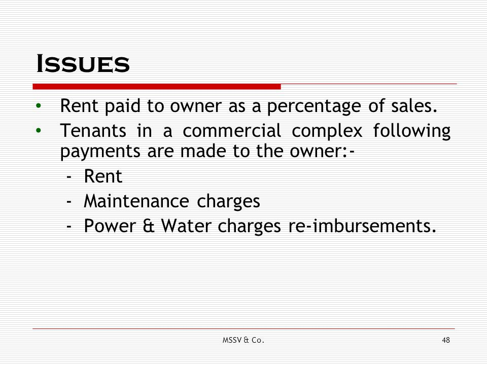 Issues Rent paid to owner as a percentage of sales.