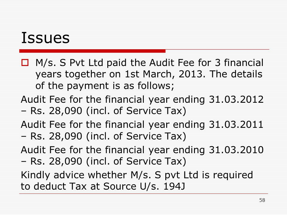 Issues M/s. S Pvt Ltd paid the Audit Fee for 3 financial years together on 1st March, 2013. The details of the payment is as follows;