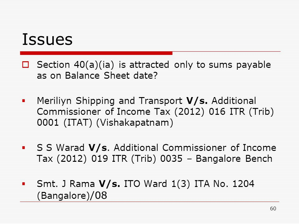 Issues Section 40(a)(ia) is attracted only to sums payable as on Balance Sheet date