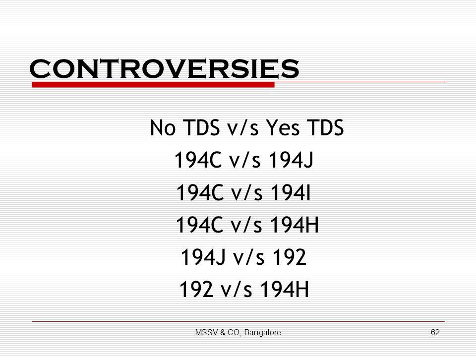 CONTROVERSIES No TDS v/s Yes TDS 194C v/s 194J 194C v/s 194I 194C v/s 194H 194J v/s 192 192 v/s 194H