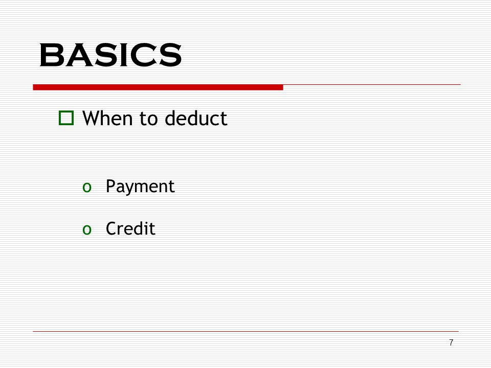BASICS When to deduct Payment Credit Tds deduction