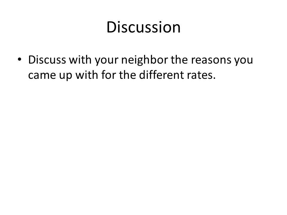 Discussion Discuss with your neighbor the reasons you came up with for the different rates.