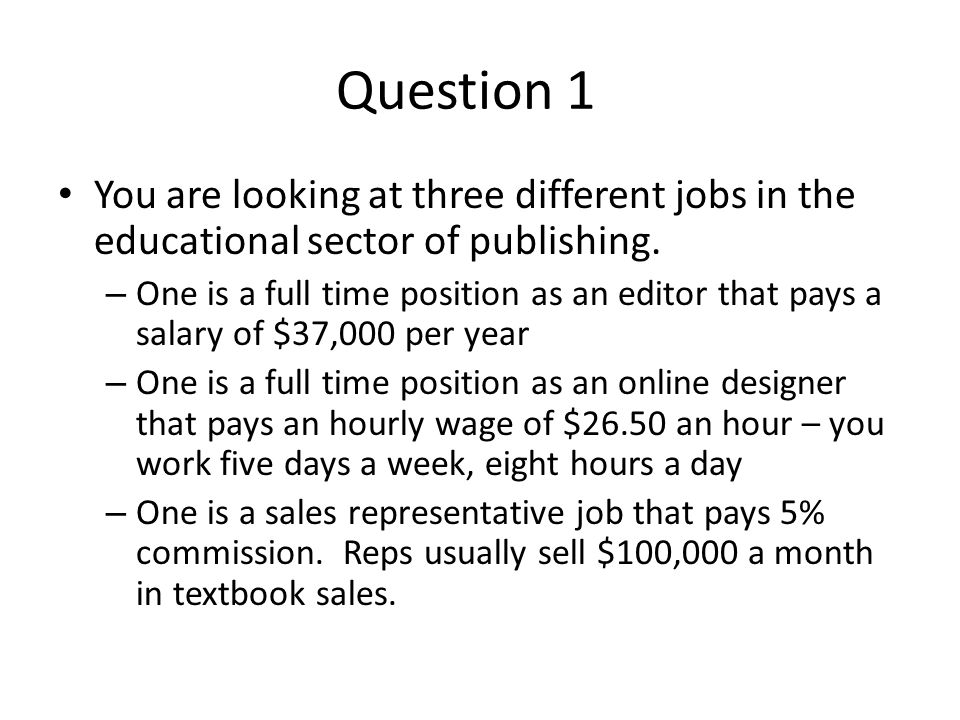 Question 1 You are looking at three different jobs in the educational sector of publishing.