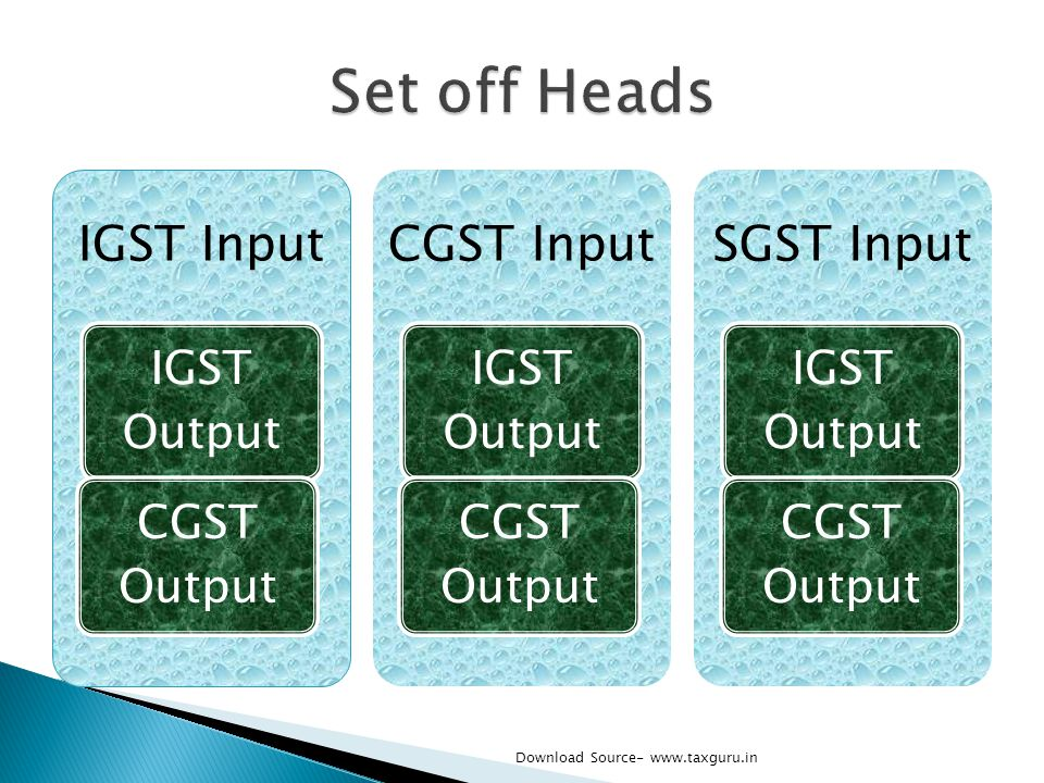 Set off Heads IGST Input CGST Input SGST Input IGST Output CGST Output