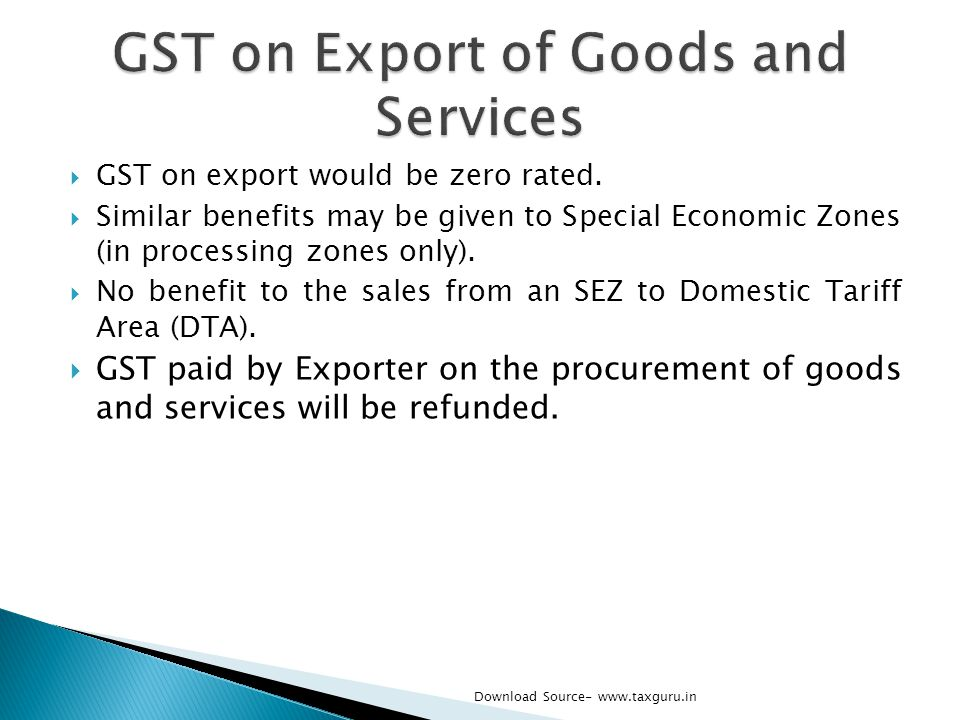 GST on Export of Goods and Services