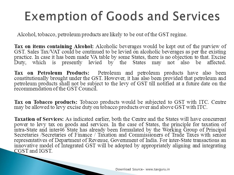 Exemption of Goods and Services