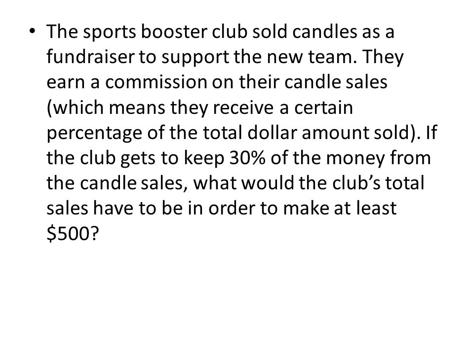 The sports booster club sold candles as a fundraiser to support the new team.