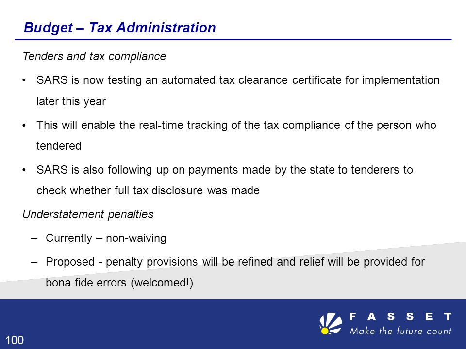 Budget – Tax Administration