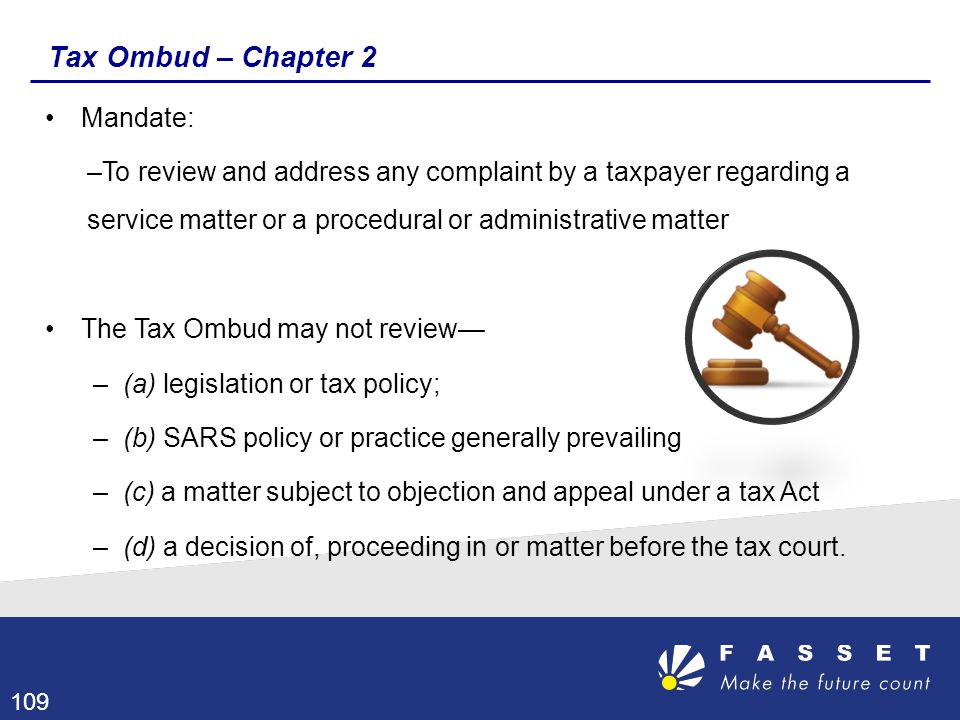 Tax Ombud – Chapter 2 Mandate: