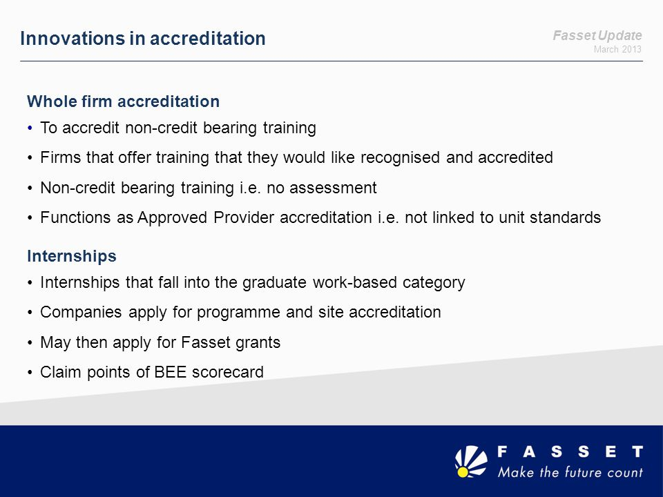 Innovations in accreditation