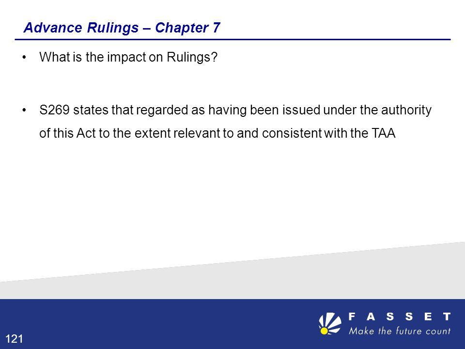 Advance Rulings – Chapter 7