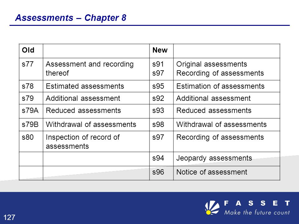Assessments – Chapter 8 Old New s77 Assessment and recording thereof