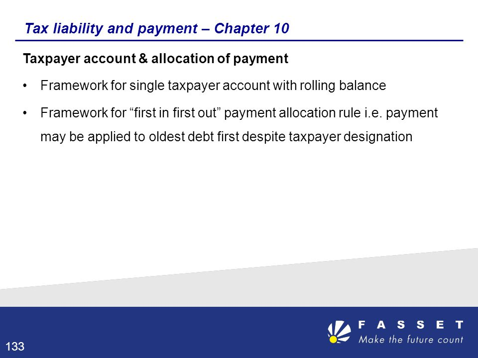 Tax liability and payment – Chapter 10