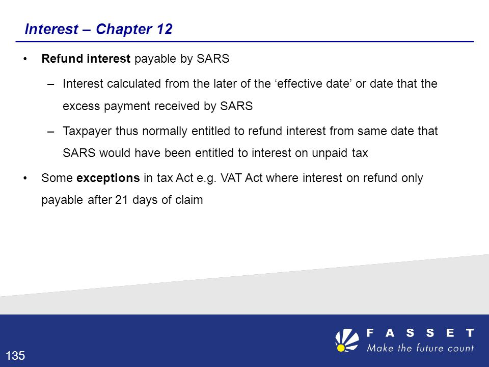 Interest – Chapter 12 Refund interest payable by SARS