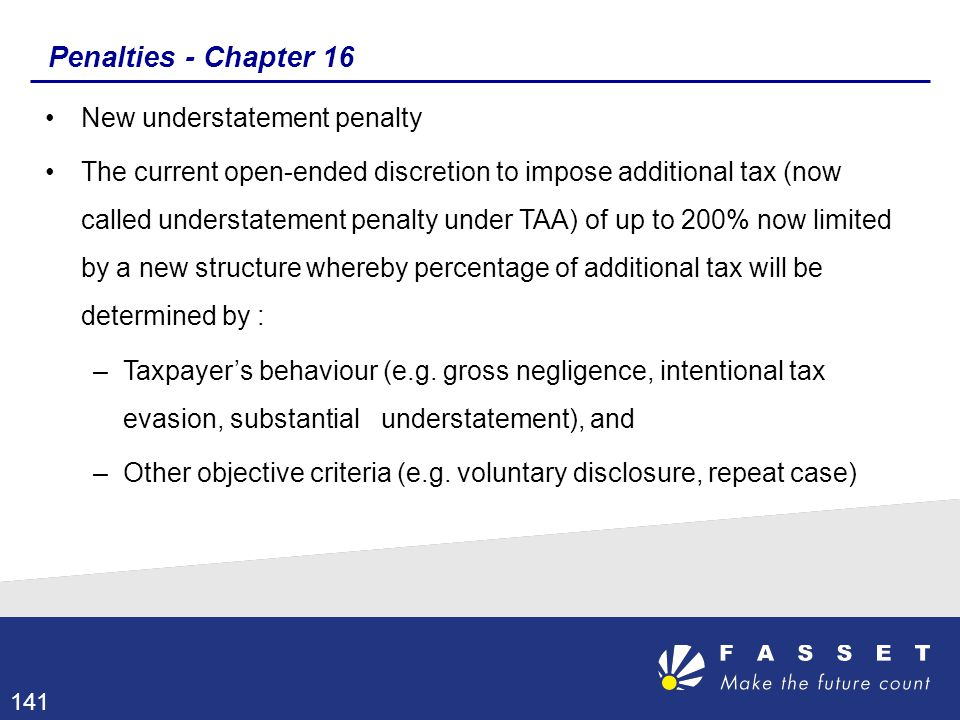 Penalties - Chapter 16 New understatement penalty