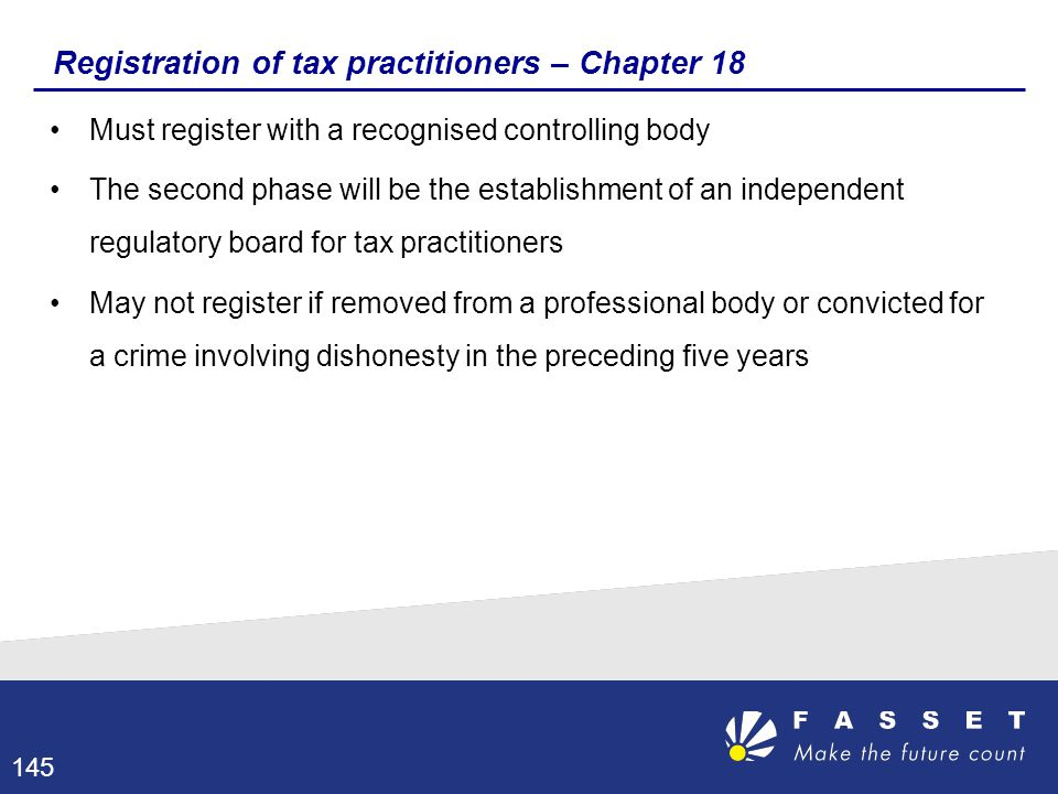 Registration of tax practitioners – Chapter 18