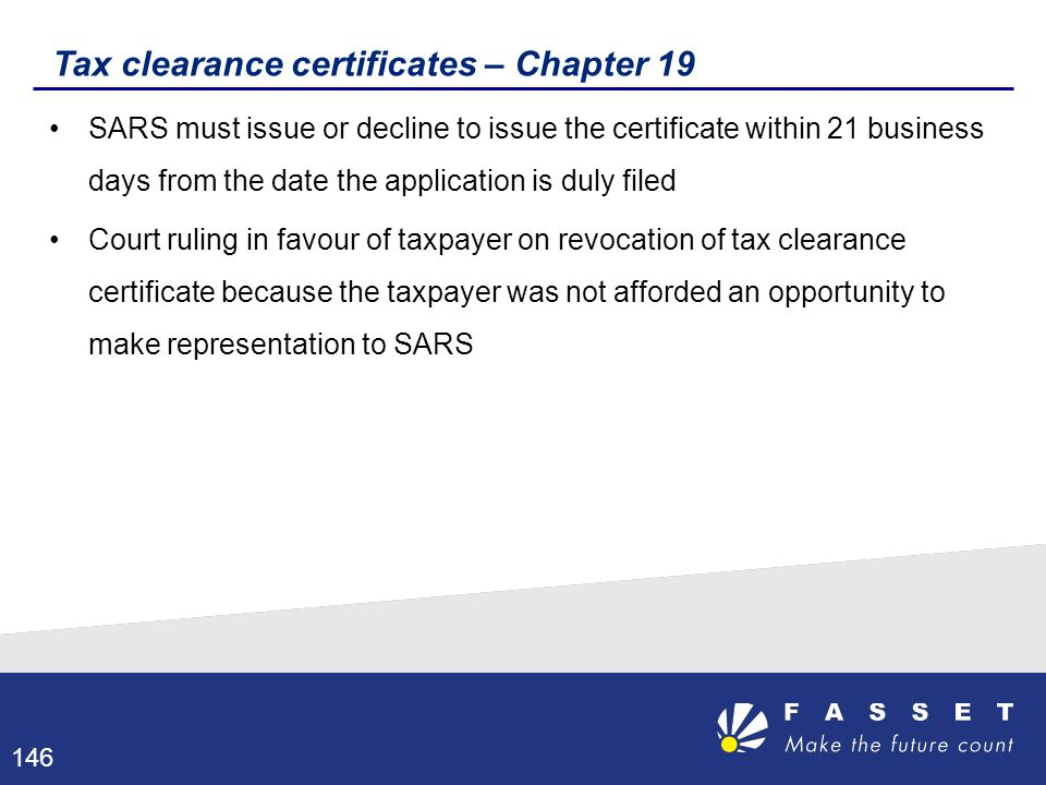 Tax clearance certificates – Chapter 19