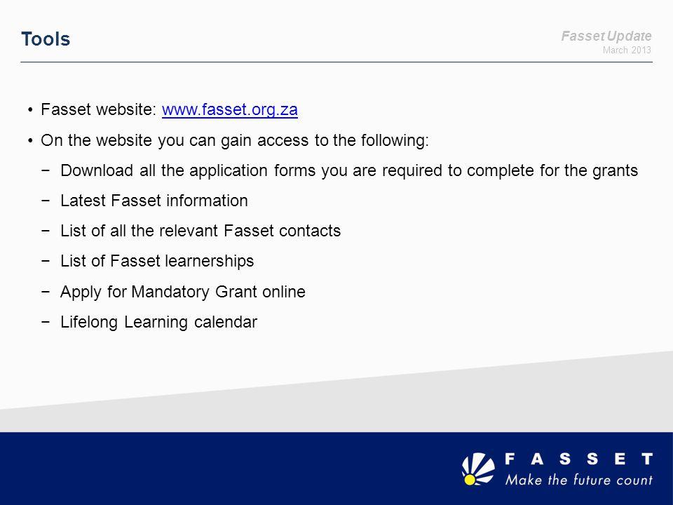 Tools Fasset website: www.fasset.org.za