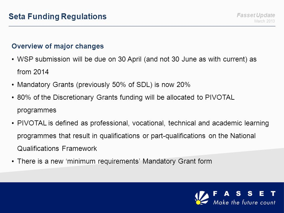 Seta Funding Regulations