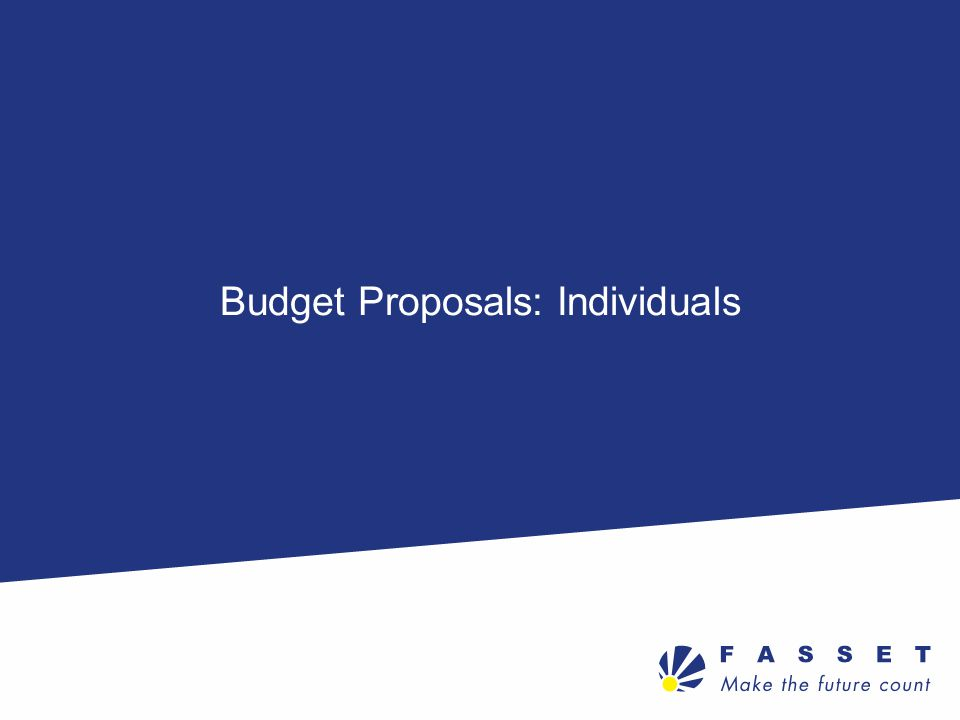 Budget Proposals: Individuals