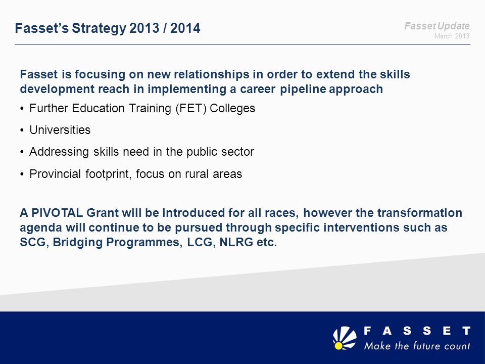 Fasset's Strategy 2013 / 2014 Fasset Update. March 2013.