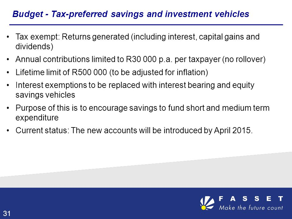 Budget - Tax-preferred savings and investment vehicles