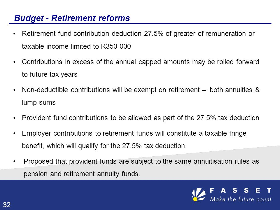 Budget - Retirement reforms