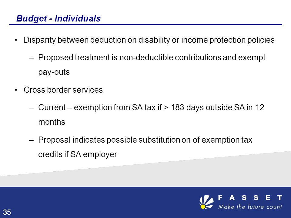 Budget - Individuals Disparity between deduction on disability or income protection policies.