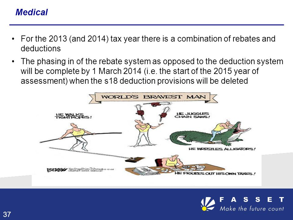 Medical For the 2013 (and 2014) tax year there is a combination of rebates and deductions.