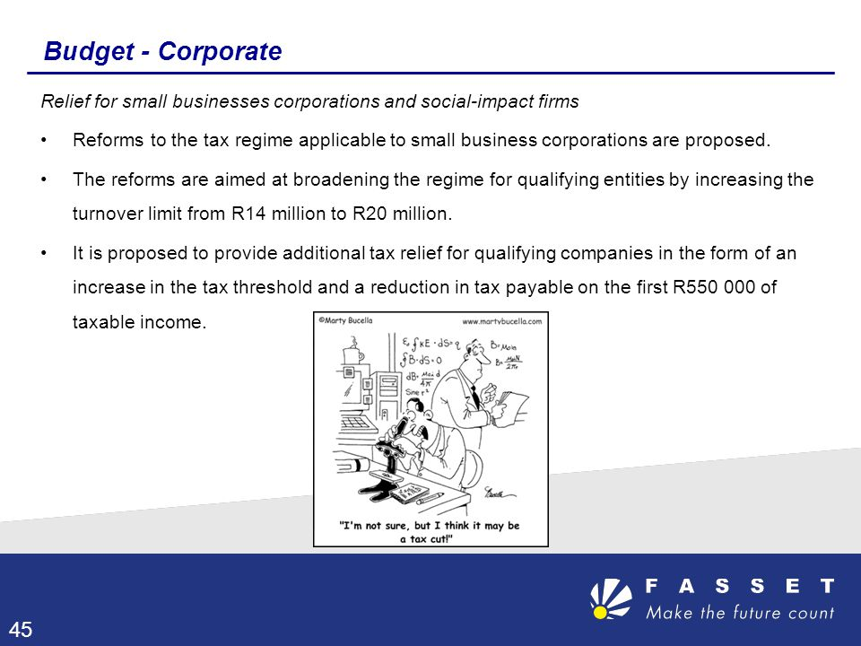 Budget - Corporate Relief for small businesses corporations and social-impact firms.