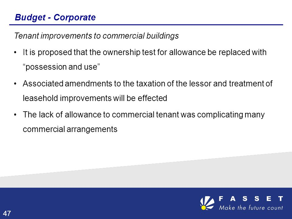 Budget - Corporate Tenant improvements to commercial buildings