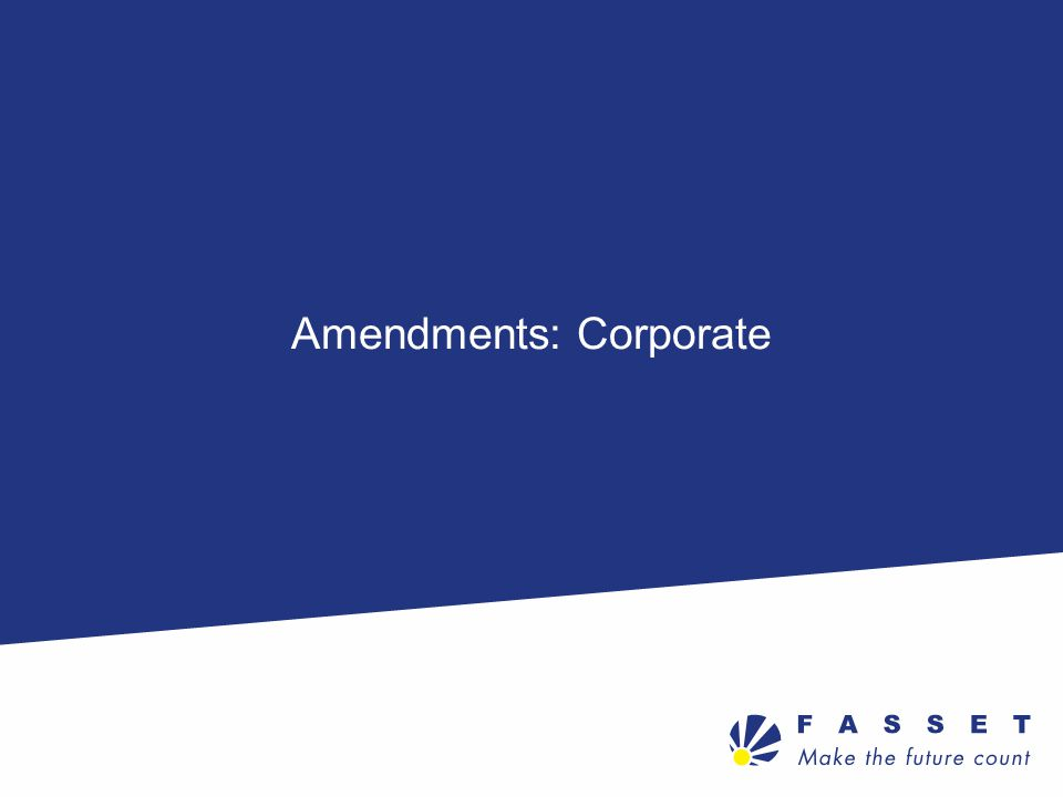 Amendments: Corporate