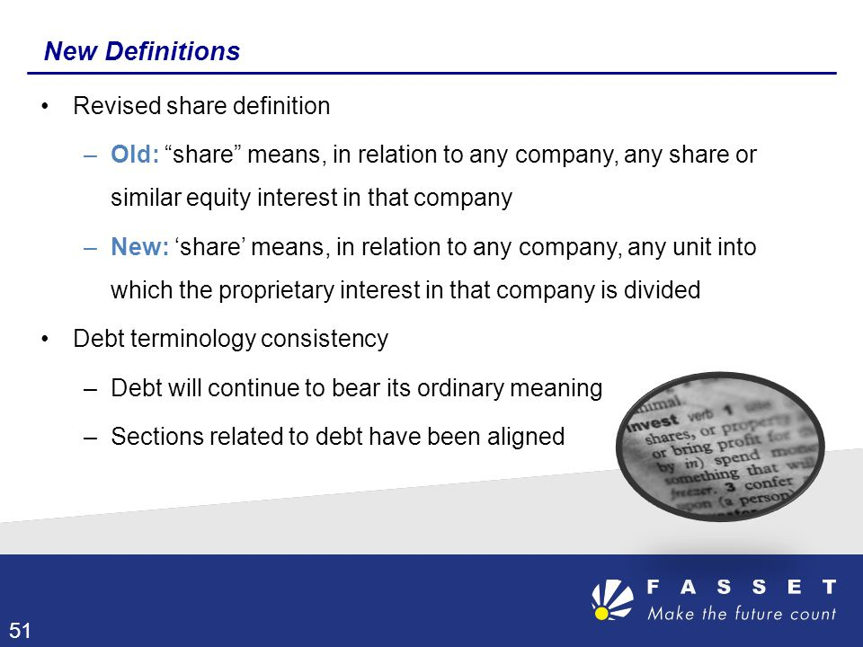 New Definitions Revised share definition