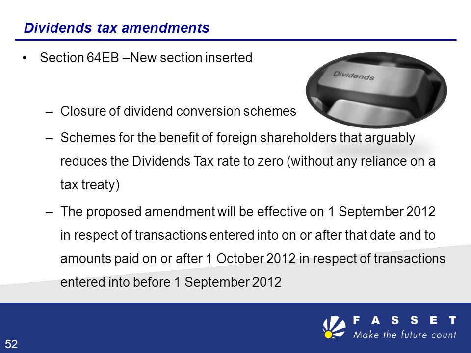 Dividends tax amendments
